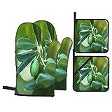 Juego de 4 Guantes y Porta ollas para Horno Resistentes al Calor Olivo Verde en Rama con luz Solar matutina, Enfoque selectivo para Hornear en la Cocina,microondas,Barbacoa