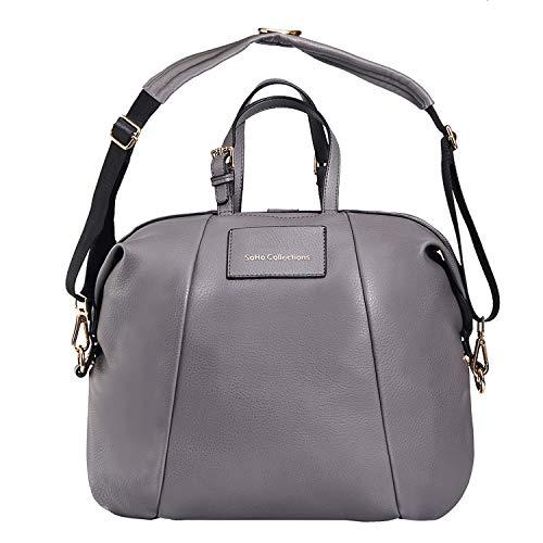 SoHo Olympia Vegan Leather Diaper Bag 4Pc, Gray