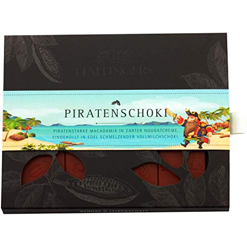 Hallingers Vollmilch-Schokolade mit Macadamia-Nougat hand-geschöpft (90g) - Piratenschoki (Tafel-Karton) - zu Passt immer