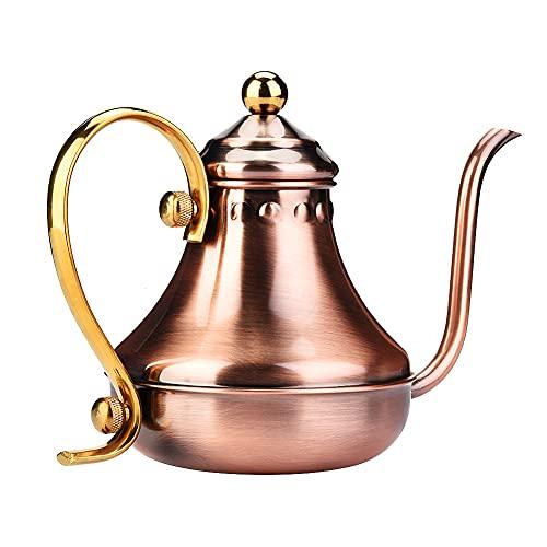 Cafetera de acero inoxidable duradero antiguo café té agua hervidor de agua olla largo estrecho caño café con boquilla pequeña 420ml