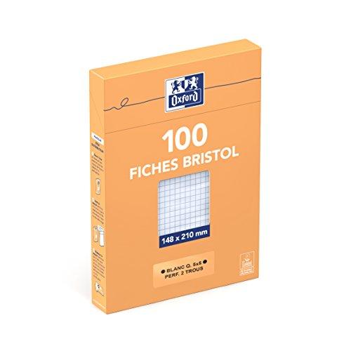 Oxford 100104874 Fiche bristol perforée A5 100 Pages Blanc