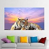 ganlanshu Pintura sin Marco Lienzo Pintura Tigre Cielo Nubes Cartel de la Pared Animal Art Poster Living Room decorationZGQ5194 50X90cm