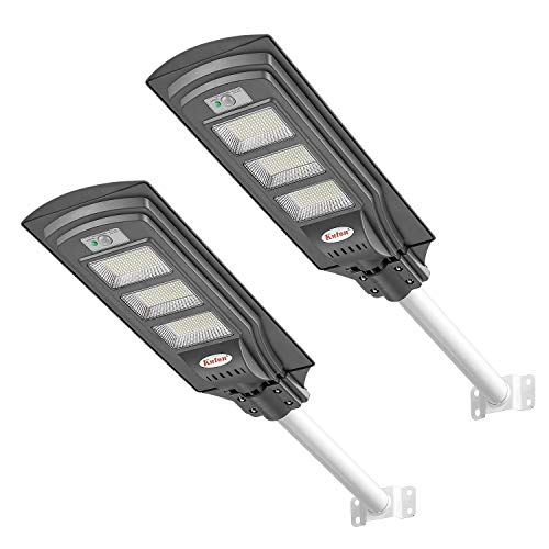 KUTON Solar Street Light, Solar Powered Outdoor Lights 6000LM, Dusk to Dawn LED Solar Light with Motion Sensor, ON/Off Switch and Remote Control for Patio, Parking Lot, Yard, Street, 90W(2 Pack)