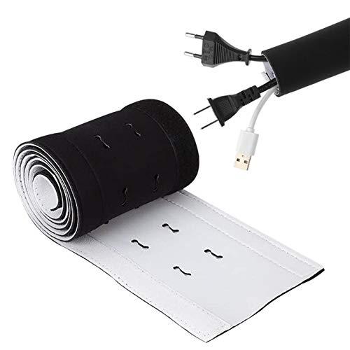 Funda de gestión de cables multiorificio, envoltura de cables cortable, reversible en blanco y negro para televisión, ordenador/mesa de escritorio, oficina, 12513,5 cm