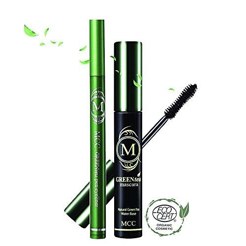 MCC ECOCERT Organic Green Tea Volumizing Mascara and Eyeliner Waterproof Set (Anti-irritation)