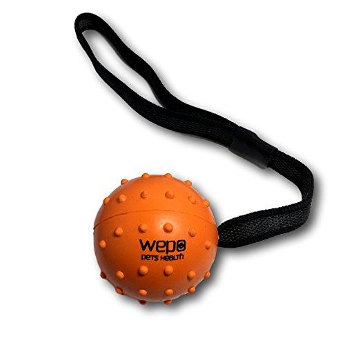 WEPO Hundespielzeug - Schleuderball mit Seil aus Naturkautschuk -für Welpen -Wurfballfür Hunde- Welpenspielzeug - Ball mit Seil/Schnur - Orange