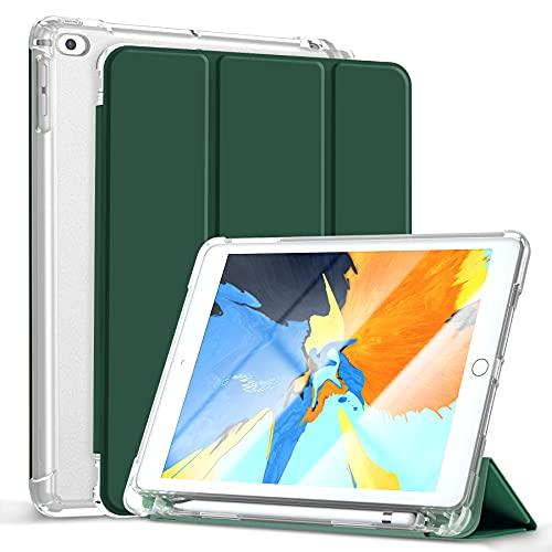 Gahwa Cover per iPad 9.7 Pollici 2018 2017 (6a   5a Gen)   iPad Air 2   iPad Air Built-in Pencil Holder, Custodia Tri-fold con Sottile Leggero Case in Trasparente con Auto Sonno Sveglia - Verde Scuro