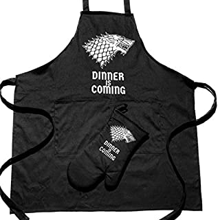 Premium Quality Dinner is Coming Game of Thrones Merchandise, Apron for Cooking, Baking, Grilling, Gardening, Cleaning, Sewing, Crafting, Woodworking or BBQ with Bonus Oven Mitt