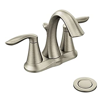Moen 6410BN Eva Two-Handle Centerset Bathroom Faucet with Drain Assembly Brushed Nickel