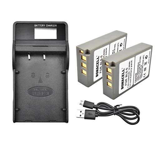 Bonacell 2 Pack PS-BLS5 Replacement Battery and Charger Kit (LCD) Fit for Olympus BLS-5, BLS-50, PS-BLS5 and Olympus OM-D E-M10, Pen E-PL2, E-PL5, E-PL6, E-PL7, E-PM2 and Stylus 1 Digital Camera
