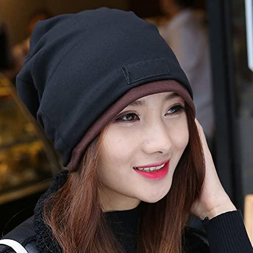 Gorras de bufanda para mujer para gorrita tejida Cape Hair Loss, algodón suave para dormir, chal Baotou Set Head Cape, negro, talla única