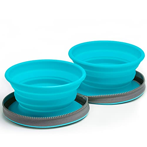 Two Collapsible Dog Bowls - Dog Water Bowl - Foldable Bowl with Travel Case - Blue