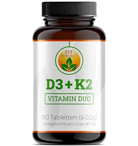 Fit Bewusst - Vitamin D3 + K2 – 180 Tabletten – richtig dosiert mit 800 I.E. Vitamin D3 und 40 µg Vitamin K2 pro Tablette – für Immunsystem, Herz, Muskeln, Knochen und Zähne