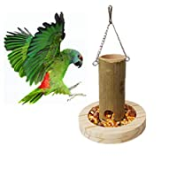 IGUGHI野鳥 用 給餌器 餌台 吊り下げ 木製 餌箱ガーデン バードフィーダー バードウォッチング 餌場 えさ台 小鳥 鳩 野鳥観察 ペット用品 フック付き14*14cm