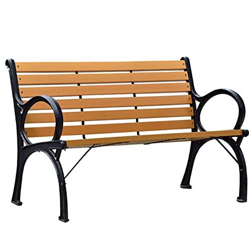 Panca per patio da giardino Panchina in legno per parco all'aperto Panca con struttura in ghisa resistente alle intemperie, panca con struttura in ghisa antiruggine, posti a sedere mobili per portic
