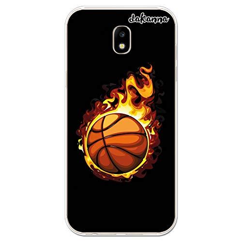 dakanna Custodia per Samsung Galaxy J5 2017 | Peallone di Basket in Fiamme | Cover in Gel di Silicone TPU Morbido di Alta qualità Trasparente