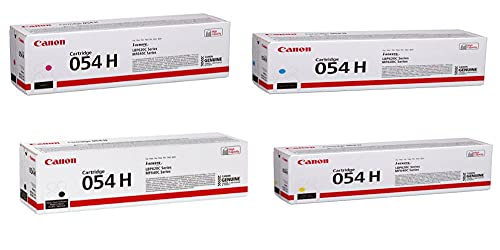 Canon CRG 054 High Yield Toner Cartridge for LBP622 & MF644, Bundle with Black 3100 Pages Yield/Cyan 2300 Pages Yield/Magenta 2300 Pages Yield/Yellow 2300 Pages Yield