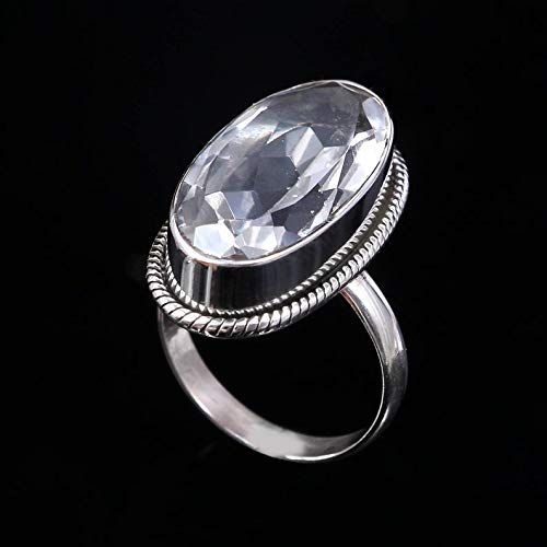 Rock Clear Crystal Quartz Gemstone Ring 925 Sterling Silver Engagement Ring