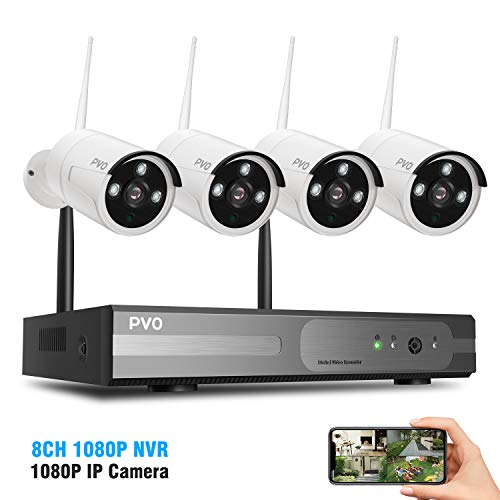 PVO Surveillance NVR Kits, 8 Channel Home Security Camera System 4PCS 1080P WiFi Security Camera Outdoor Built-in Repeater with IP66 Waterproof, Night Vision, Motion Alert, Remote Views, No Hard Disk