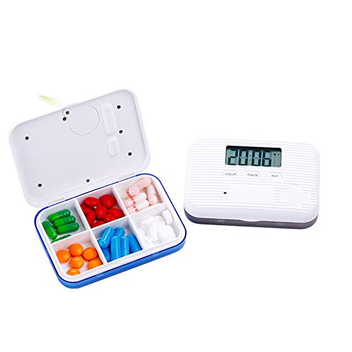 Keepbest Mini-Pillendose, elektronischer Zeitschaltuhr, Wecker, Erinnerung, Medizinstore, multifunktional weiß/blau