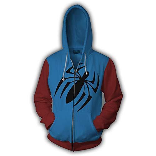 QLZQCQ Sudadera con Capucha de Spider-Man Far from Home Chaqueta Miles Morales Pullover con Estampado 3D Adolescente Adultos Sudadera de Gran tamao Chndal, Azul