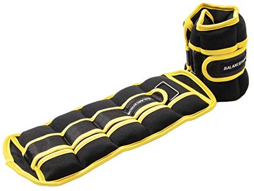 BalanceFrom GoFit Fully Adjustable Ankle Wrist Arm Leg Weights, Black/Yellow