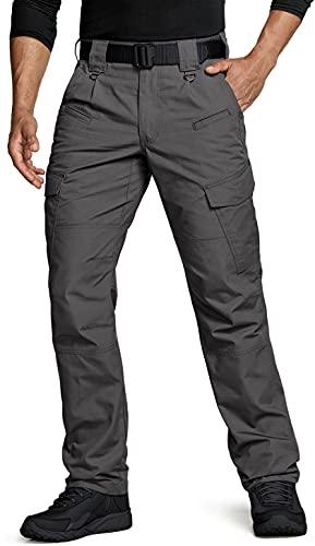 CQR Men's Tactical Pants, Water Repellent Ripstop Cargo Pants, Lightweight EDC Hiking Work Pants, Outdoor Apparel, Duratex Charcoal, 34W x 32L