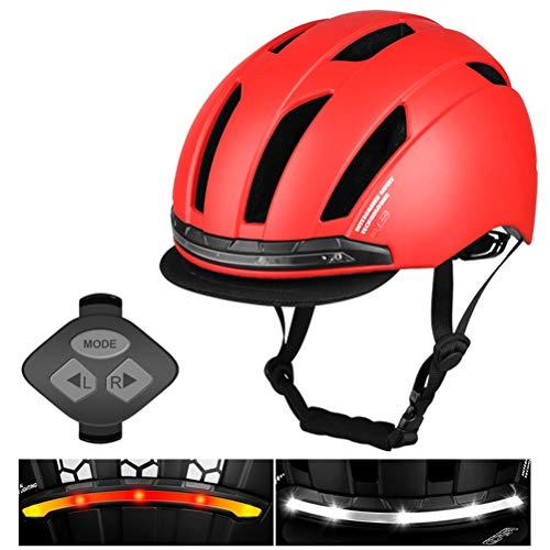 HEITIGN Fahrradhelm mit LED-Blinker, Städtischer Pendler Fahrrad Fahrradhelm Sicherheit Nachtfahrwarnhelm, USB-Aufladung Funksteuerung Rücklicht Blinker Schutzhelm, Rot L