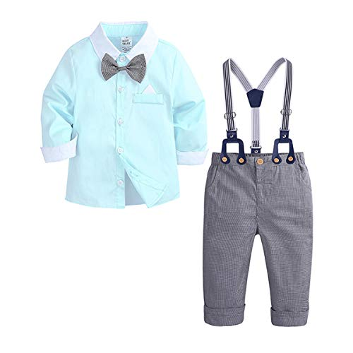 ZNMJW Traje de caballero para niño, manga larga, tejido de algodón, color de contraste, camisa y babero, 2 juegos (3 ~ 4 años, 80 ~ 110 cm) Verde verde 80 cm