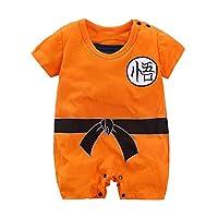 ベビーロンパースジャンプスーツドラゴンボールZ ベジータ新生児コットンボディスーツワンピース男の子 オレンジ色 半袖 0-3 ヶ月/59