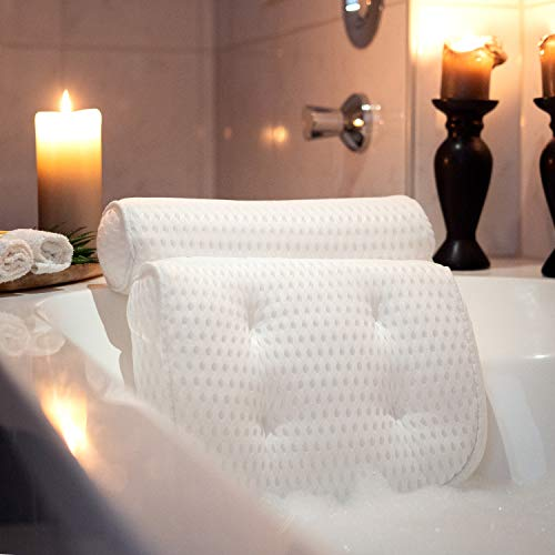 SUMTIX Badewannenkissen-Set Badekissen inkl. Peelinghandschuh & Tragetasche | Nackenkissen/Wannenkissen mit Saugnäpfen | Luxus Kissen für Badewanne