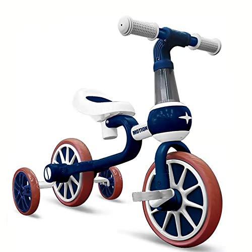 YWJPJ. 4 Ruedas Niños Balance Scooter, Bicicleta de Bicicleta de Balance Infantil con Asiento Ajustable, Dos Modelos de niños/niña Caminantes, Buen Regalo por Edad 1, 2, 3,Azul