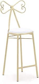チェアバースツールハイスツール、弓結び目型背もたれ金色布張りの座席朝食カフェキッチンホームチェア(背もたれ付き)アームレストとフットレスト(色:白、サイズ:40 * 40 * 75 cm)
