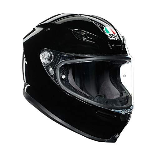 AGV K-6 Solid Adult Street Motorcycle Helmet - Black/Medium/Large