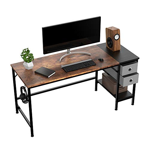 HOMIDEC Computer Desk, Office Work Desk for student and worker, Writing Desk with drawer and Headphone Hook, Laptop Table with shelves, Modern Style Desks for Bedroom, Home, Office(140x60x75cm)