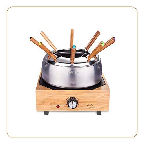 LITTLE BALANCE 8320 Wood Fondue 8 Inox - Appareil à fondue 8 personnes - Caquelon Inox anti-adhésif grande contenance 2 litres - Puissance 800 W - Finition Bambou véritable