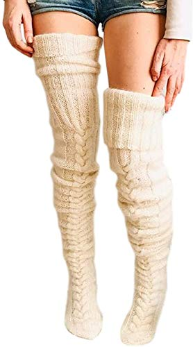Women's Cable Knitted High Boot Socks Long Winter Warm Over Knee Stockings Leg Warmers (Creamy-white, One Size)
