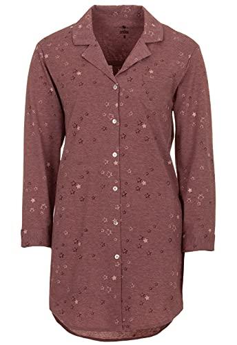 Zeitlos Damen Nachthemd Langarm Kragen Knopfleiste Sterne Loungewear, Farbe:Altrosa, Größe:XL