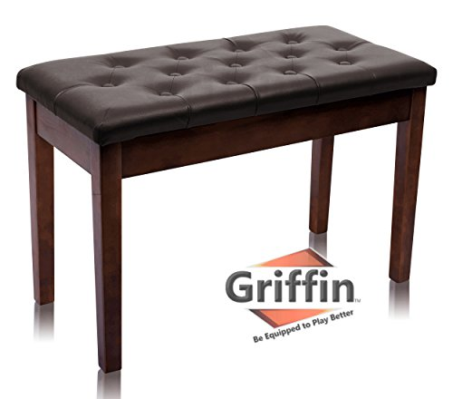 Griffin Double Brown Leather Piano Bench | Vintage Design, Heavy-Duty & Ergonomic Keyboard Stool | Comfortable Double Duet Seat & Convenient Hidden Storage Space, Perfect For Home & Professional Use