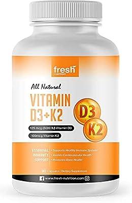 Vegan Vitamin D3 (5000iu/125mcg) + Vitamin K2 (100mcg as MK-7) for Optimal Absorption (90 Caps 5000iu Each - 3 Month Supply) - Plant Based Vitamin D3 K2 Supplement - Bones, Arteries, Immunity – ADULTS