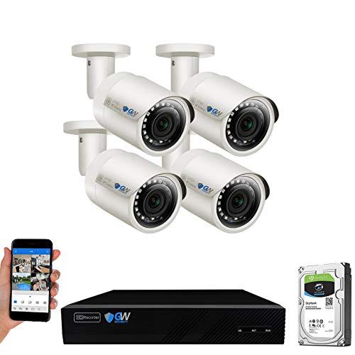 GW Security 1920P NVR con HD Megapixel, 1920P, sistema de cámara IP de seguridad PoE para interiores y exteriores
