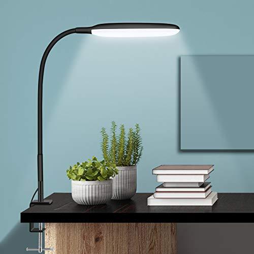 NovoLido - 10W Lámpara de Escritorio LED con Abrazadera, Lámpara de Mesa Flexible de 360 ° con 3 Modos de Color y Atenuación Continua, 3000-10000K, CRI ≥ 90 Luz de Protección Ocular (Negro)