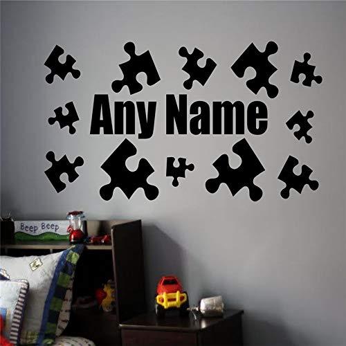 Personalisierte Name Wall Decals Puzzle Aufkleber Boy Room Nursery Wandaufkleber für Kinderzimmer Art Decor100 x 58 cm