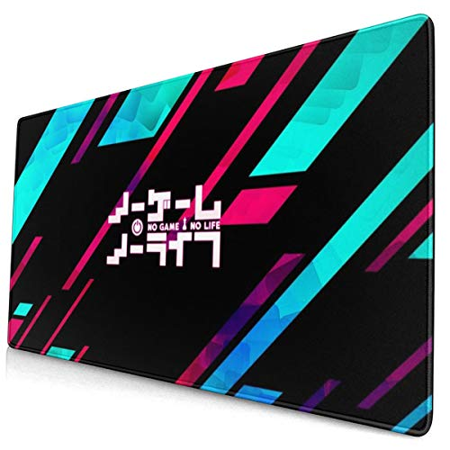 Anime No Game No Life Logo 15.8x29.5 in Large Gaming Mouse Pad Desk Mat Long Non-Slip Rubber Stitched Edges