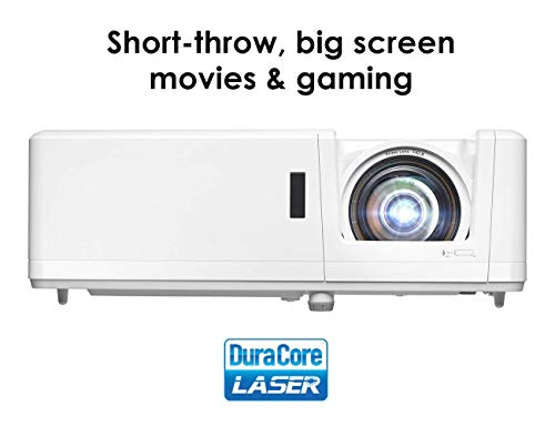 Optoma GT1090HDR Short Throw Laser Home Theater Projector   4K HDR Input   Lamp-Free Reliable Operation 30,000 Hours   Bright 4,200 lumens for Day and Night   Short Throw (Renewed)