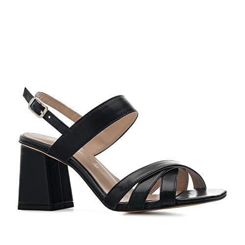 Andrés Machado Sandalias de tacón Ancho para Mujer/Chica - Zapatos de señora - en Cuero Color Negro, Talla 43 EU