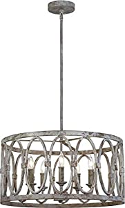 "Feiss F3222/5DA Patrice Candle Drum Chandelier, 5-Light 300 Watts (21"" D x 11"" H), Deep Abyss"