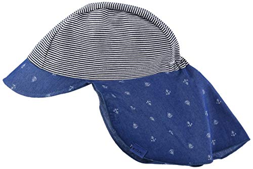 maximo Baby-Jungen Schildmütze, Nackenschutz Mütze, Blau (Denim Blue-Boot-Anker/Navy 6348), 47/49
