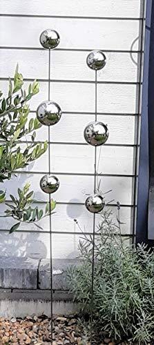Modern Art 2er Set Gartenstecker Edelstahl mit Kugel Kugeln Metall Gartendeko Beetstecker Topstecker Gartenstab XXL