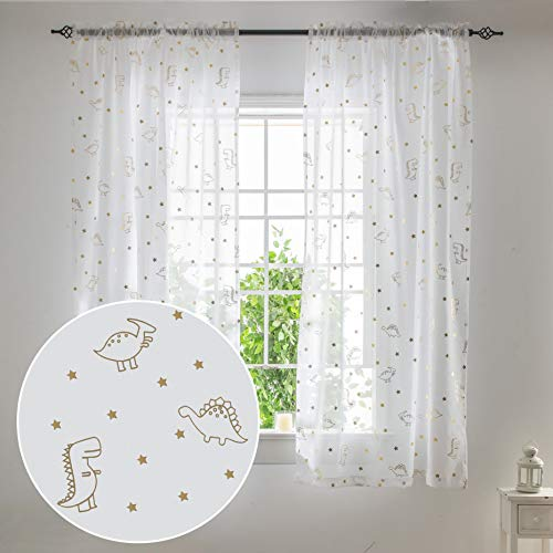 SEEKRIGHT Cartoon Dinosaur and Star Sheer Curtains for Boys Room - Rod Pocket White and Gold Voile Curtains for Living Room 63 Inch Length, Set 2 Panels